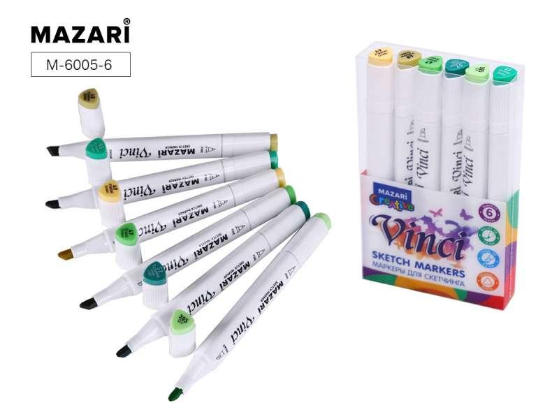 Набор маркеров для скетчинга двусторонние VINCI, 6цв., Green colors (зеленые цвета)
