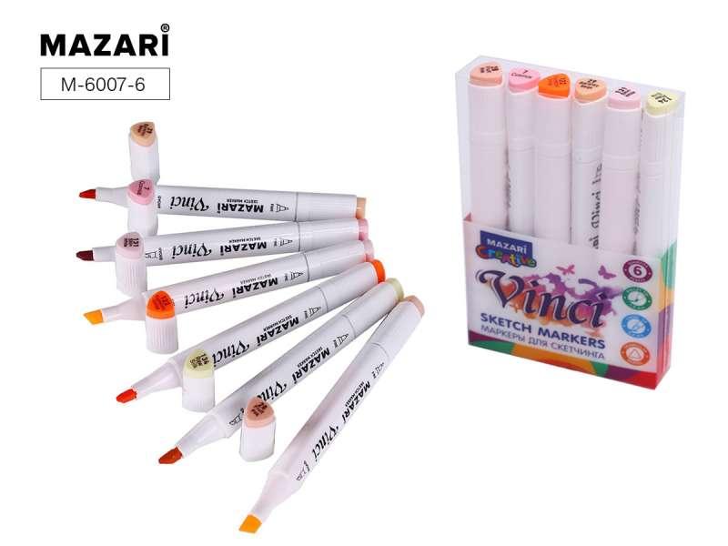 Набор маркеров для скетчинга двусторонние VINCI, 6цв., Skin colors (телесные цвета)