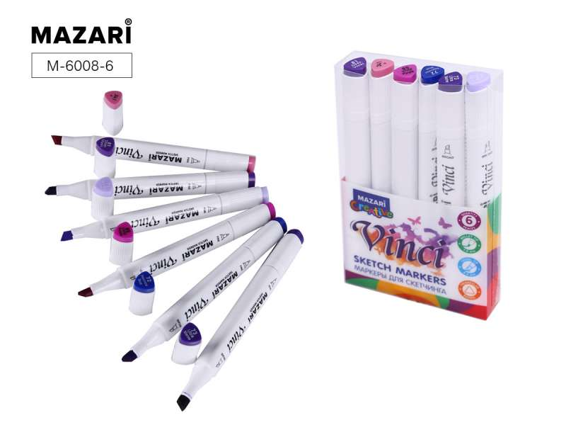Набор маркеров для скетчинга двусторонние VINCI, 6цв., Purple colors (пурпурные цвета)
