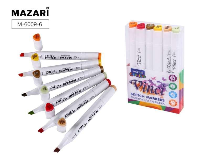 Набор маркеров для скетчинга двусторонние VINCI, 6цв., Autumn colors (цвета осени)