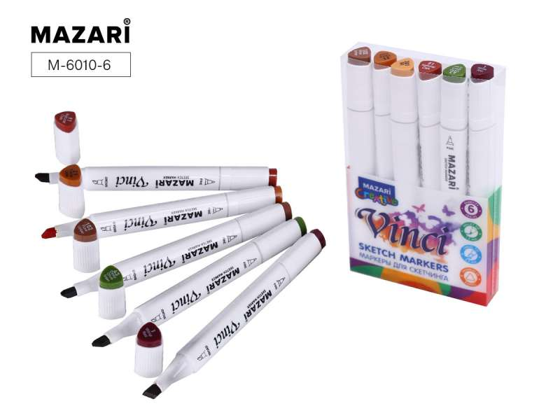 Набор маркеров для скетчинга двусторонние VINCI, 6цв., Forest colors (цвета леса)