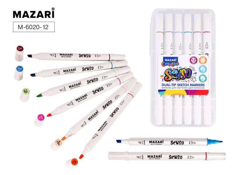 Набор маркеров для скетчинга двусторонние SENSO,12цв., Pastel colors (пастельные цвета), корпус круглый
