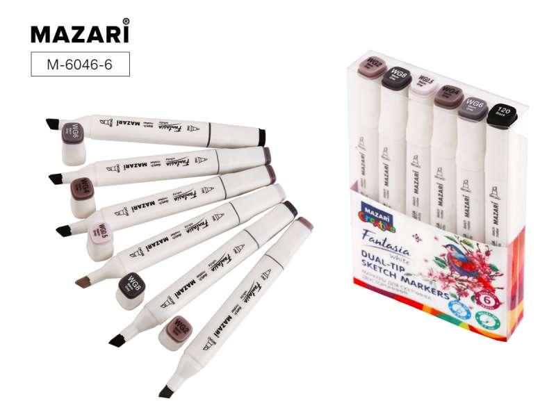 Набор маркеров для скетчинга двусторонних FANTASIA WHITE, 6 цв., Warm Grey (теплые серые)