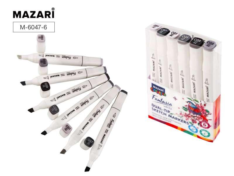 Набор маркеров для скетчинга двусторонних FANTASIA WHITE, 6 цв., Cool Grey (холодные серые)