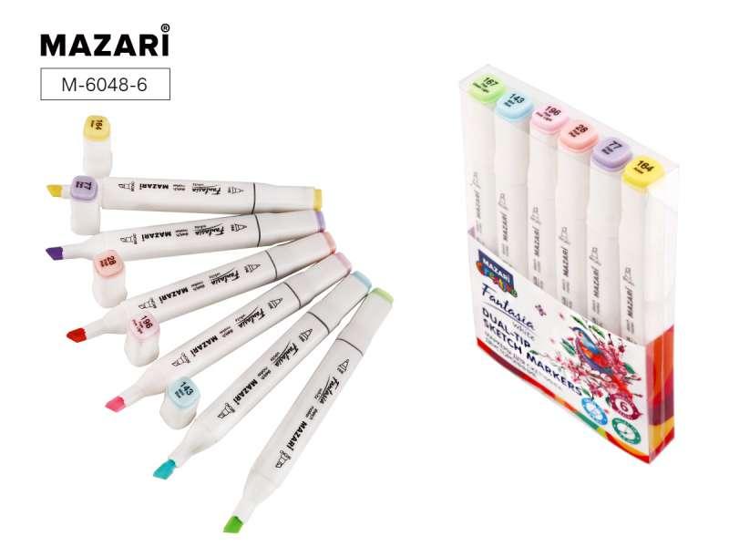 Набор маркеров для скетчинга двусторонних FANTASIA WHITE, 6 цв., Pastel colors (пастельные цвета 1)