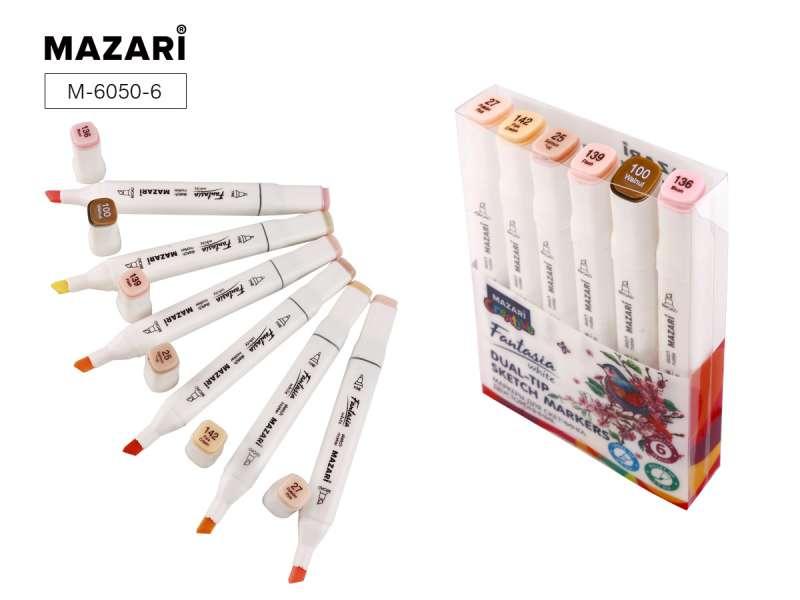 Набор маркеров для скетчинга двусторонних FANTASIA WHITE, 6 цв., Skin tones (телесные цвета)