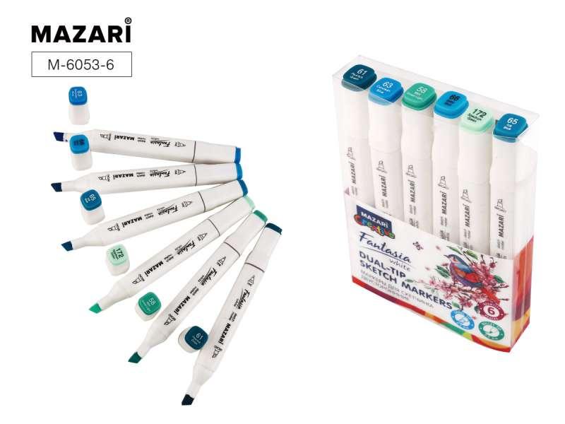 Набор маркеров для скетчинга двусторонних FANTASIA WHITE, 6 цв., Marine Blue colors (морские синие цвета)