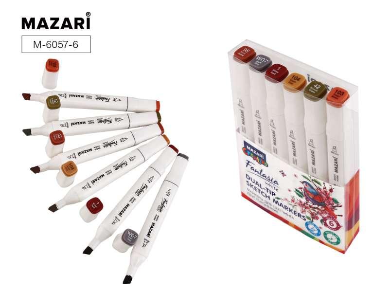 Набор маркеров для скетчинга двусторонних FANTASIA WHITE, 6 цв., Wood colors (древесные цвета)