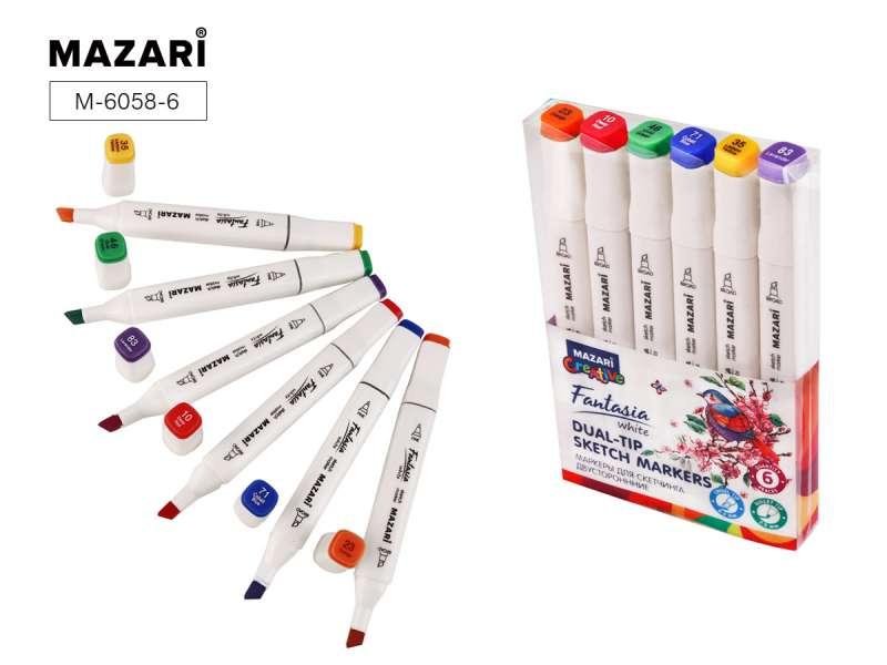 Набор маркеров для скетчинга двусторонних FANTASIA WHITE, 6 цв., Main colors (основные цвета)