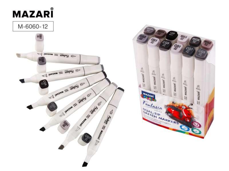 Набор маркеров для скетчинга двусторонних FANTASIA WHITE, 12 цв., Grey colors (серые цвета)