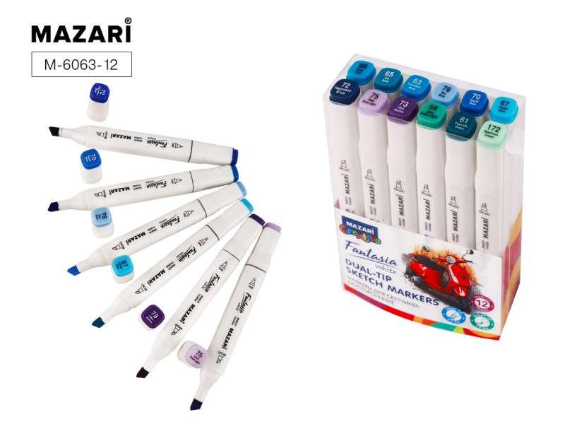 Набор маркеров для скетчинга двусторонних FANTASIA WHITE, 12 цв., Marine Blue colors (морские цвета)