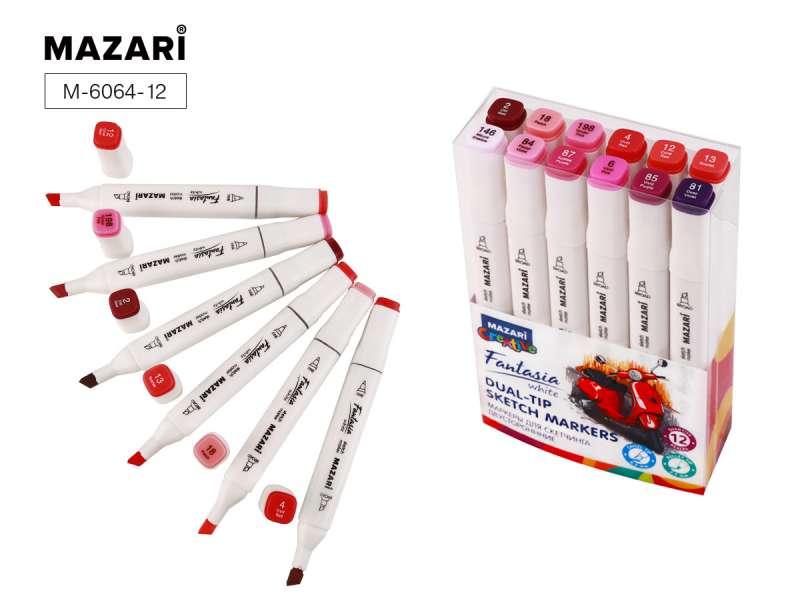Набор маркеров для скетчинга двусторонних FANTASIA WHITE, 12 цв., Berries colors (ягодные цвета)