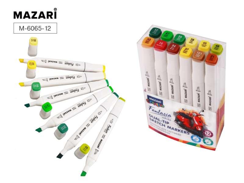 Набор маркеров для скетчинга двусторонних FANTASIA WHITE, 12 цв., Forest colors (лесные цвета)