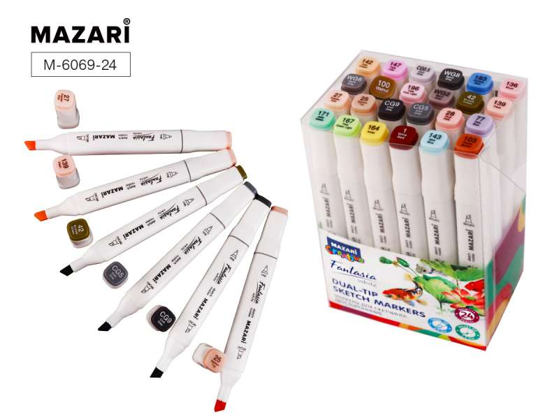 Набор маркеров для скетчинга двусторонних FANTASIA WHITE, 24 цв., Grey Pastel colors (серые пастельные цвета)