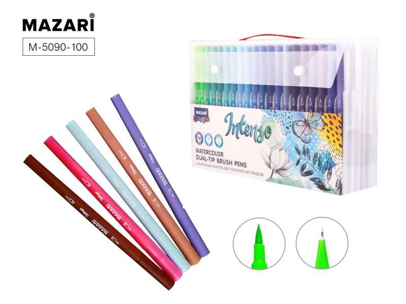 Набор маркеров акварельных, двусторонние, INTENSO, 100 цветов, наконечники: кисть и тонкое перо, пластиковый корпус