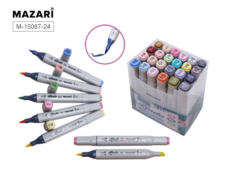 Набор маркеров для скетчинга двусторонних LINDO,24цв., Pastel colors, пастельные цвета
