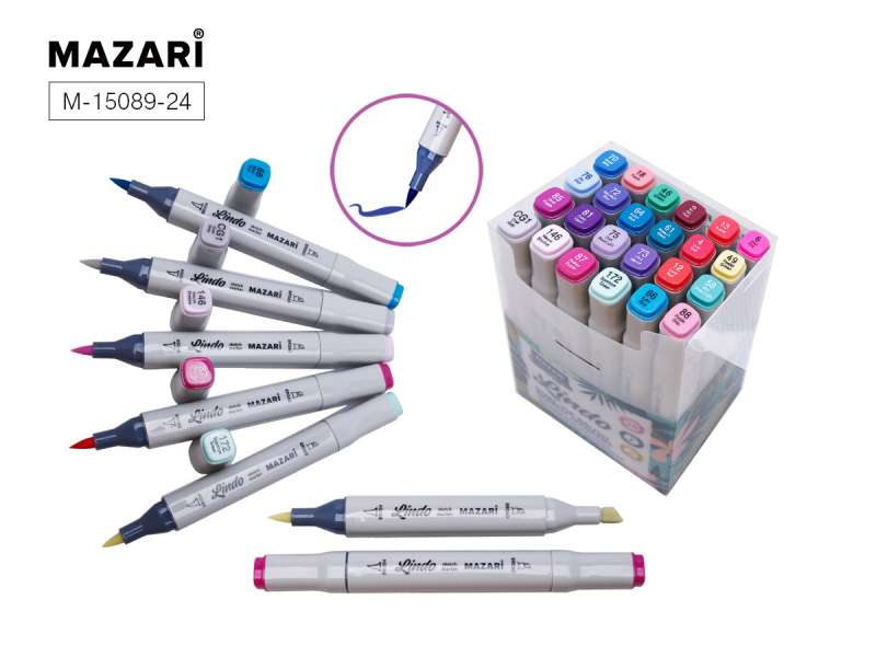 Набор маркеров для скетчинга двусторонних LINDO,24цв., Cool main colors, холодные основные цвета