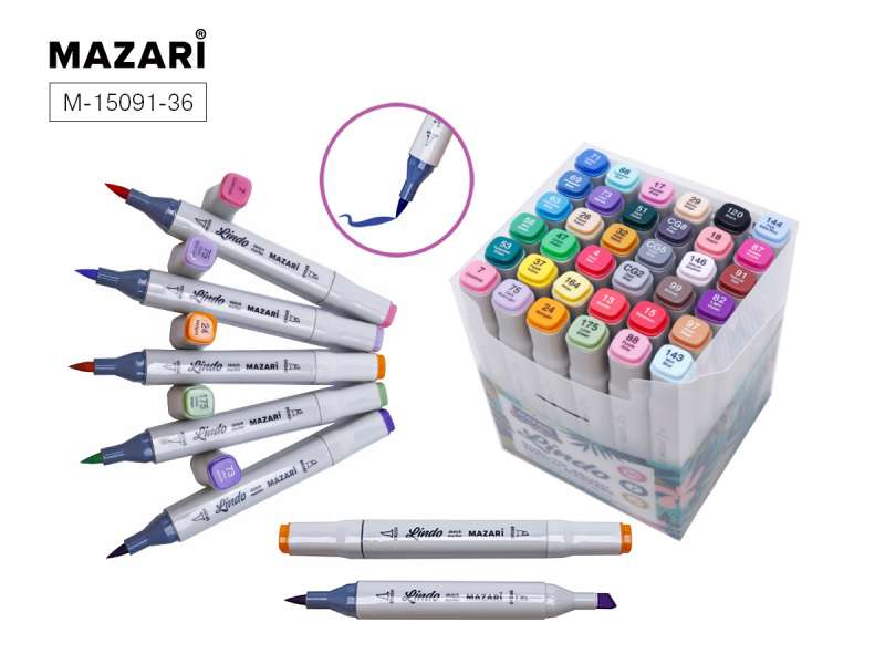 Набор маркеров для скетчинга двусторонних LINDO,36цв., Main + pastel colors