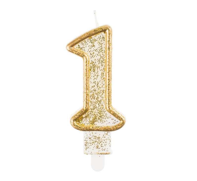 Свеча для торта 1 - Золотой контур