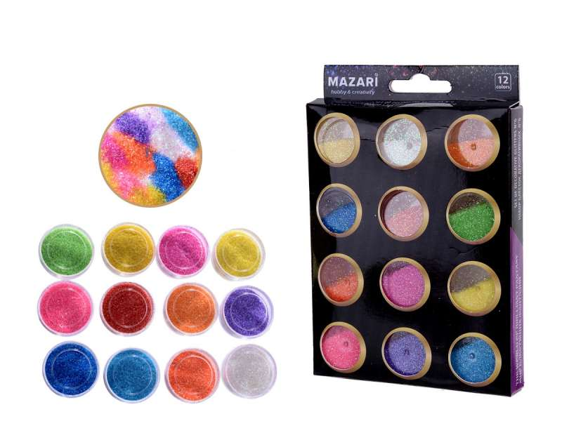 Dekoratīvo spīdumu komplekts Nr. 6, 12 krāsas x 5,6 g.