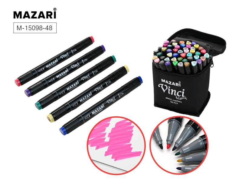 Divpusēju marķieru komplekts skicēšanai VINCI BLACK, 48 krāsas