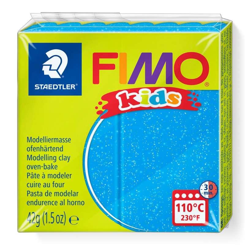 Полимерная глина FIMO KIDS, голубой с глиттером