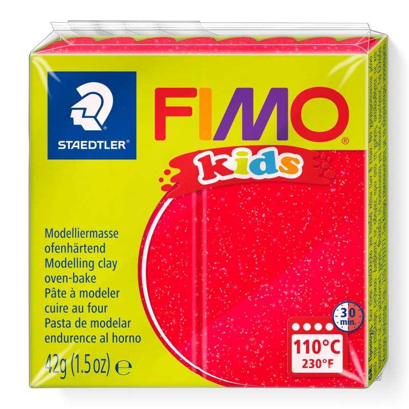 Полимерная глина FIMO KIDS, красный с глиттером
