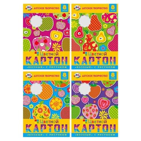 Набор цветного картона с рисунком 8л . А4