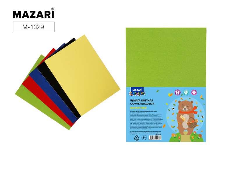 Набор цветной бумаги 5 цв., 10 л, самоклеящаяся, бархатная, формат 205х290 мм
