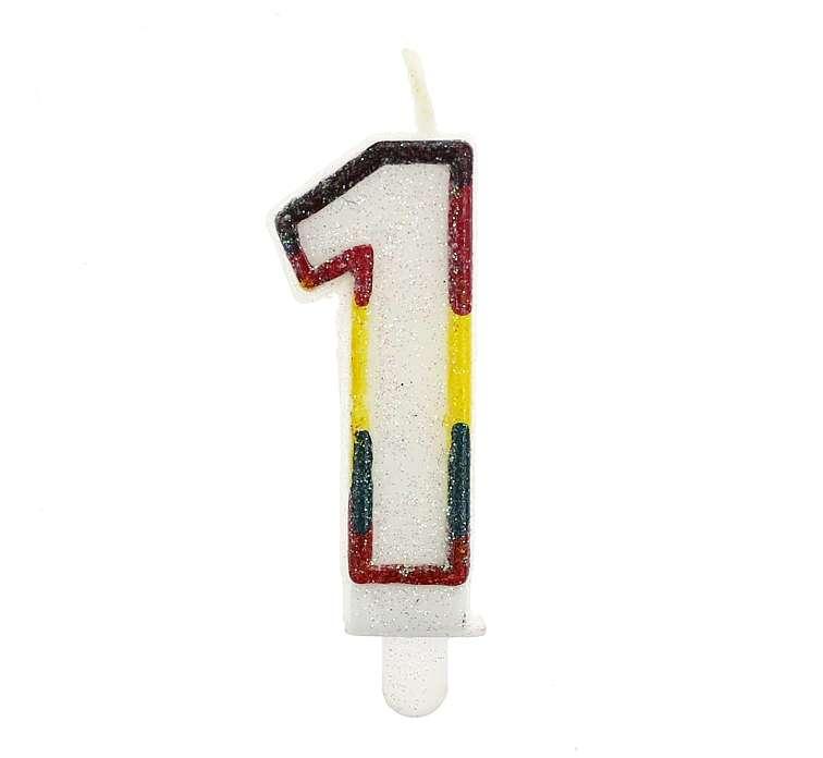 Свеча для торта 1 6.5см белая с блестками и цветным контуром