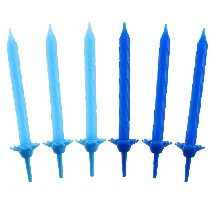 Набор свечей 24 / 12шт. 2цв. 6 см с держателями синий / светло синий