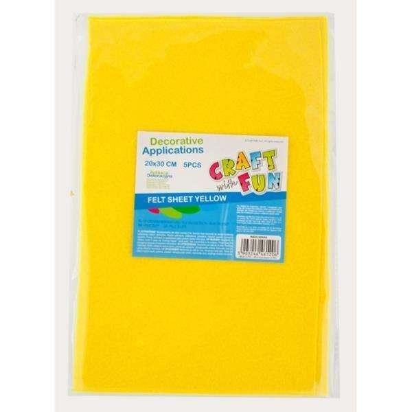 Войлок, декоративная аппликация А4, 5 шт желтый