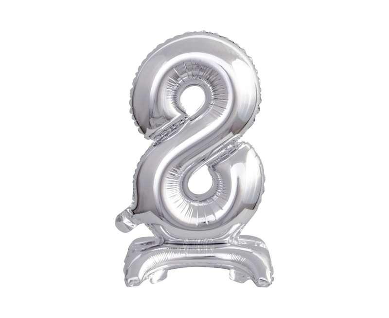 Folijas balons 38cm, Nr 8, sudraba