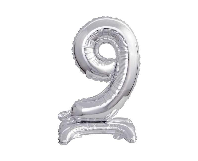 Фольгированный шар 38см., Nr 9, серебро
