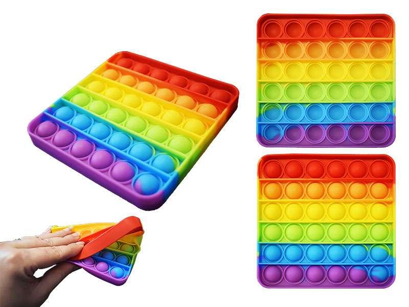 Игрушка-антистресс силиконовая POP-IT, квадрат, 12,5х12,5х1,5.,цв.радуга