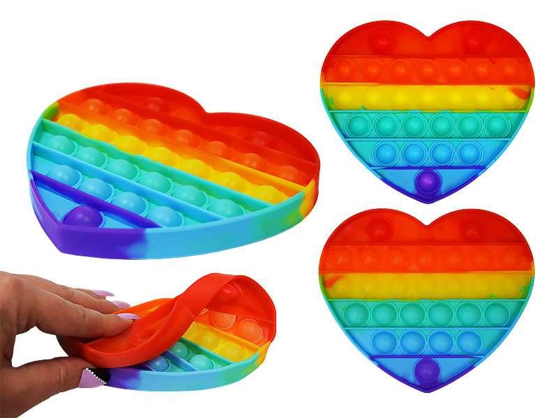 Игрушка-антистресс силиконовая POP-IT, сердце, цв.радуга