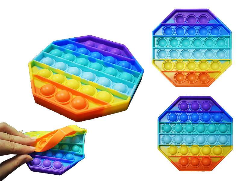 Игрушка-антистресс силиконовая POP-IT,восьмиугольник,12,5х12,5 см. цв.радуга