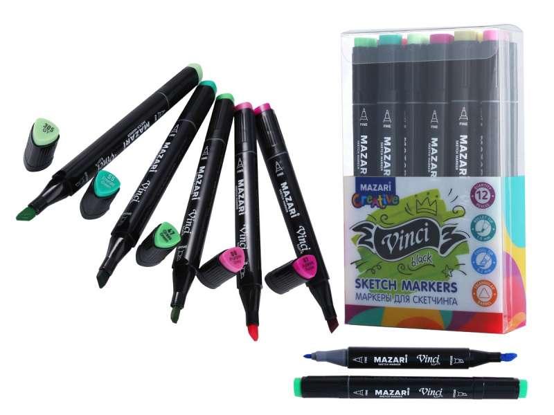 Набор маркеров для скетчинга двусторонние VINCI BLACK, 12цв., Flowers colors