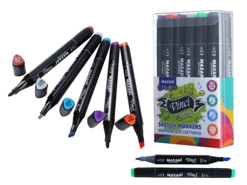 Набор маркеров для скетчинга двусторонние VINCI BLACK, 12цв., Main colors