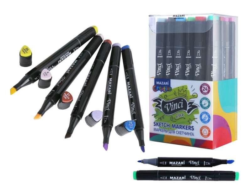 Набор маркеров для скетчинга двусторонние VINCI BLACK, 24цв., Main colors
