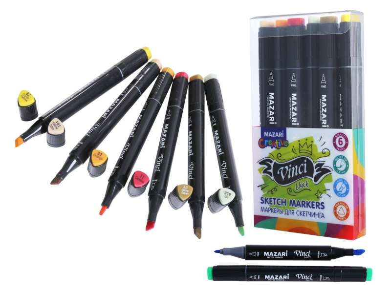 Набор маркеров для скетчинга двусторонние VINCI BLACK, 6цв., Autumn colors