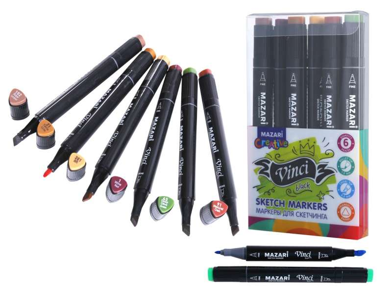 Набор маркеров для скетчинга двусторонние VINCI BLACK, 6цв., Forest colors
