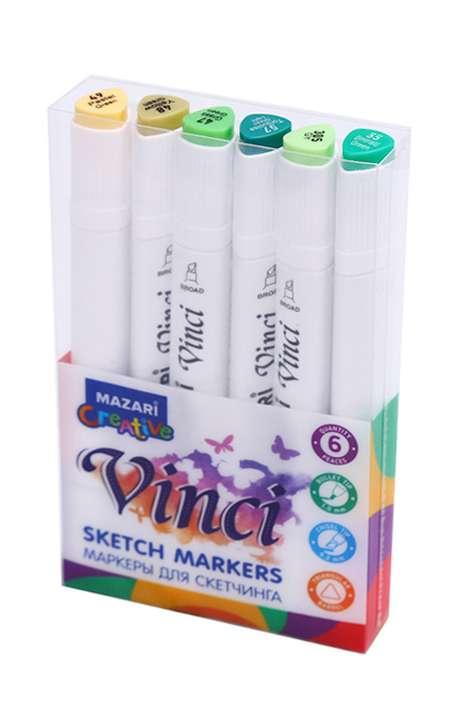 Набор маркеров для скетчинга двусторонние VINCI BLACK, 6цв., Green colors