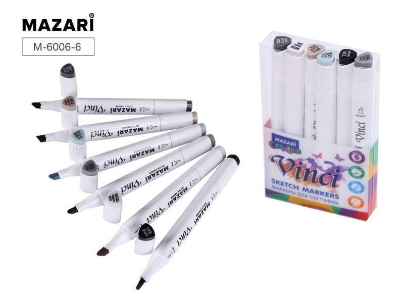 Набор маркеров для скетчинга двусторонние VINCI BLACK, 6цв., Grey colors