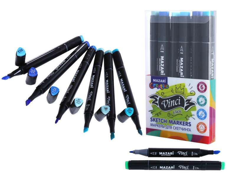 Набор маркеров для скетчинга двусторонние VINCI BLACK, 6цв., Marine colors