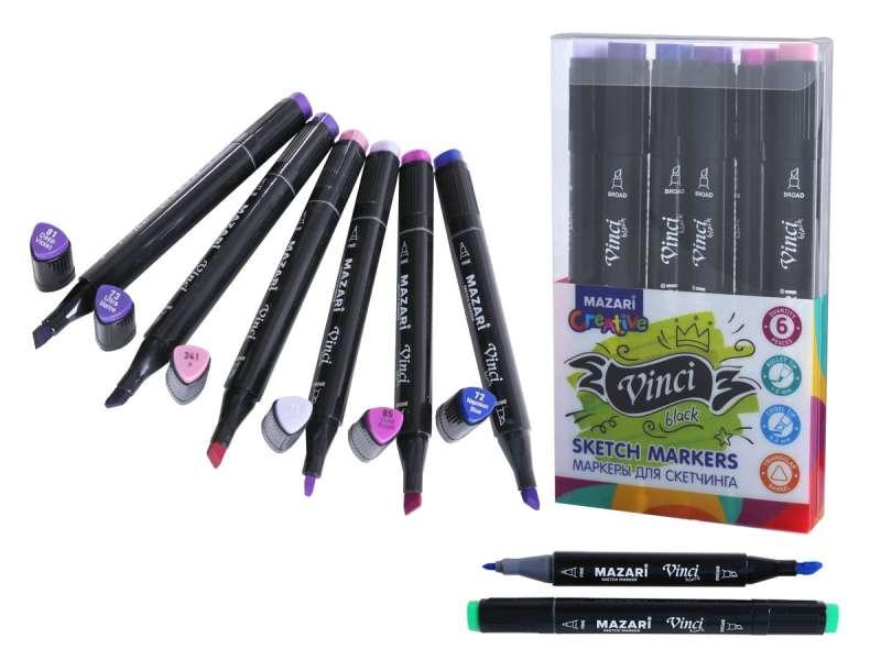 Набор маркеров для скетчинга двусторонние VINCI BLACK, 6цв., Purple colors