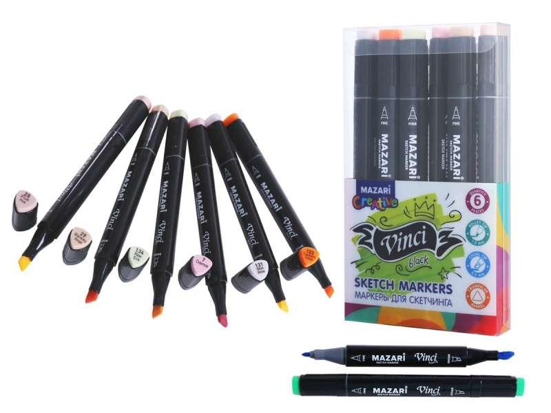 Набор маркеров для скетчинга двусторонние VINCI BLACK, 6цв., Skin colors