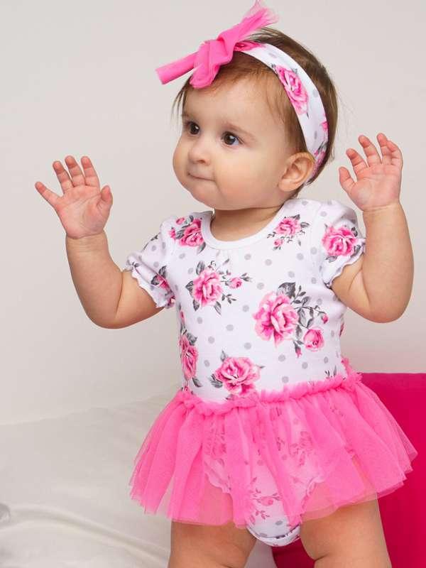 Комплект детский трикотажный для девочек: платье-боди, повязка (Размер 74)