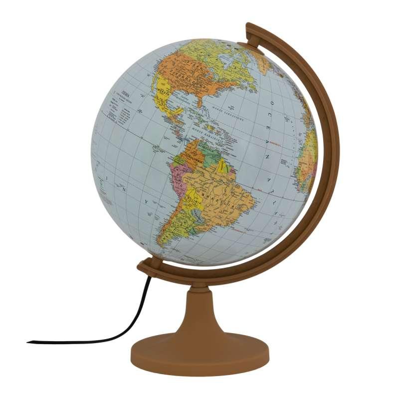 Globuss 320 mm Politiskais-Fiziskais ar apgaismojumu