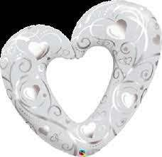 Воздушный шар 42 Hearts & Filigree Pearls Белый